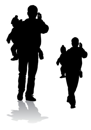carries: Father carries the child in her arms and talking on the phone.