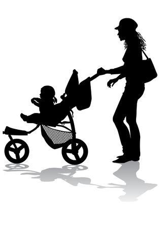 Mère lance le bébé dans la poussette pour une promenade Vecteurs