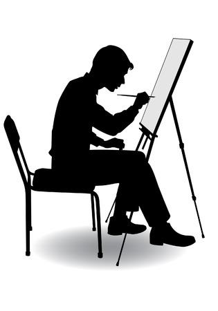 jongen zit op zijn ezel en verf op doek Stock Illustratie