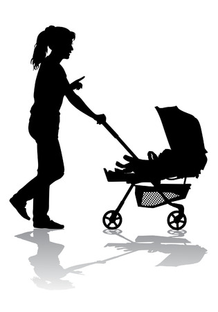 mother and baby: Mother rolls the baby in the stroller for a walk Illustration