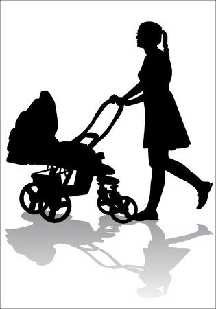 Moeder gooit de baby in de kinderwagen voor een wandeling Stock Illustratie