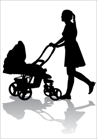 Mother rolls the baby in the stroller for a walk Illustration