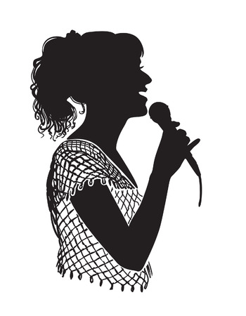 karaoke singer: Girl singing with microphone on the stage, in the karaoke club. Illustration