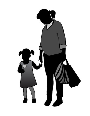 wedlock: Mother with baby on a walk. Mom talks to his daughter Illustration