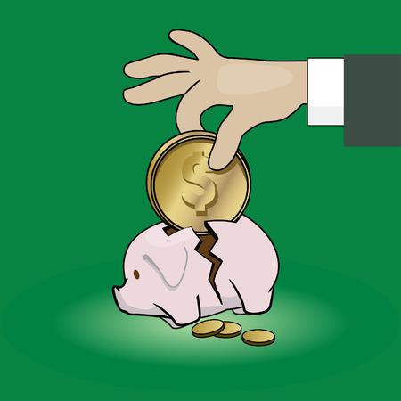 disrupt: Pig piggy bank. Hand puts a coin in a piggy bank.
