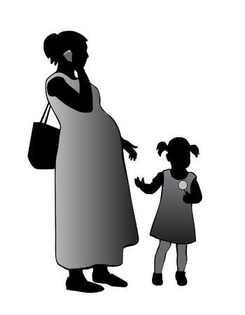 Pregnant woman standing with a child and talking on the phone.