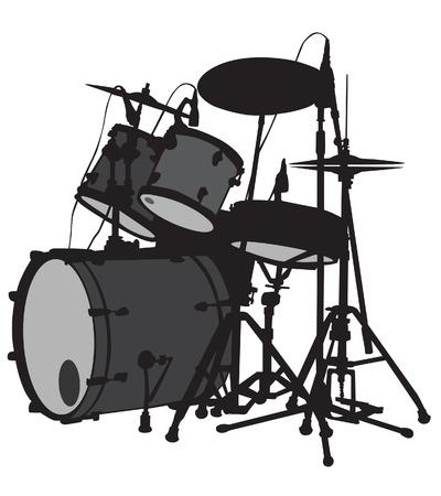 Drum set is on the scene. silhouette, vector Illustration