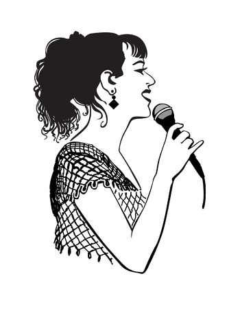 girl singing: Girl singing with microphone on the stage, in the karaoke club Illustration