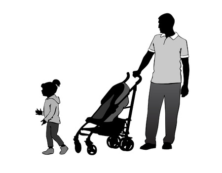 stroll: Father walking with a baby in a stroller.