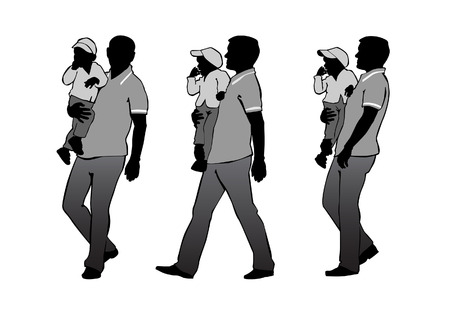 l boy: Father carries the child in her arms.