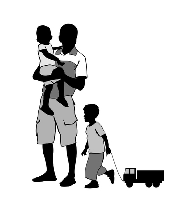 carries: Father carries the child in her arms. Father walks with children.