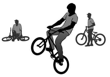 niños en bicicleta: Un niño monta una bicicleta en un paseo.