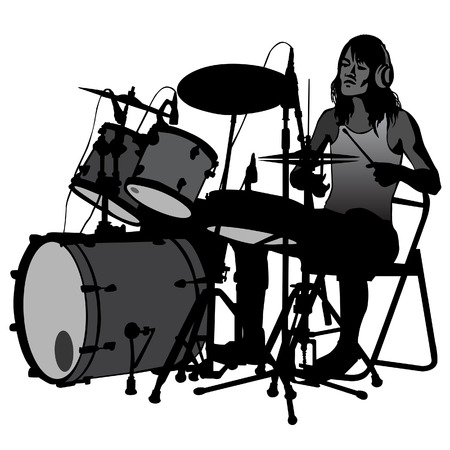 handcarves: Drummer beating the drums on stage. Drum set. silhouette, vector.