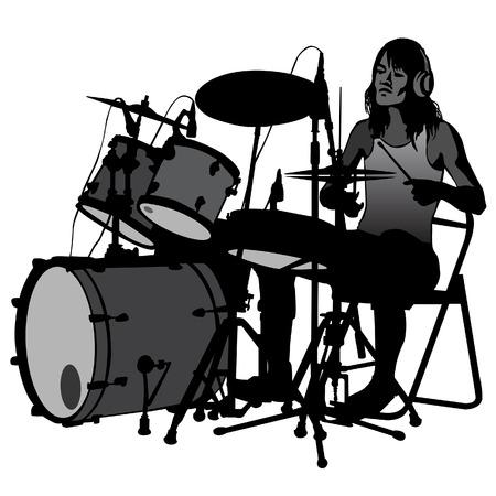 Drummer verslaan van de trommels op het podium. Drumstel. silhouet, vector.