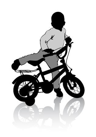 sits: The boy sits on the bike. Walk on the bike.