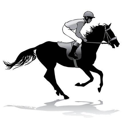 caballo corriendo: Jinete montado en un caballo. Carreras de caballos. Competencia.