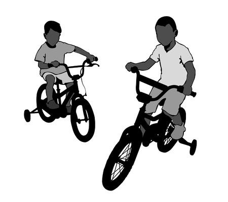 promenade: Two boys riding bikes on the promenade. Walk in the Park