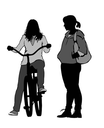 cartoon biker: The girl on a bicycle. Girls talk on the street.