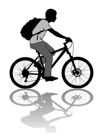 black baby boy: A boy rides a bicycle with a backpack. Illustration
