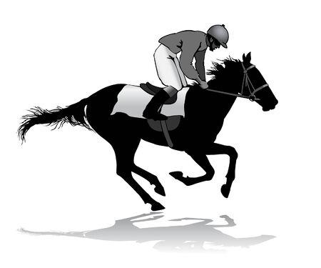 carreras de caballos: Jinete montado en un caballo. Carreras de caballos. Competencia.