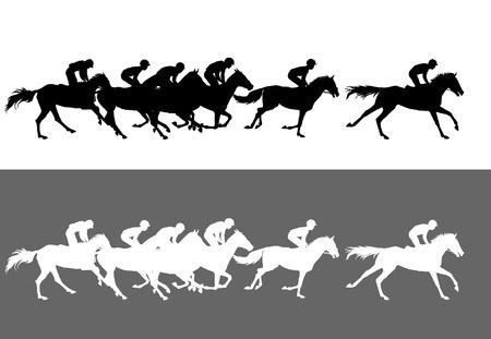 ciclista silueta: Las carreras de caballos. Competencia. Vectores