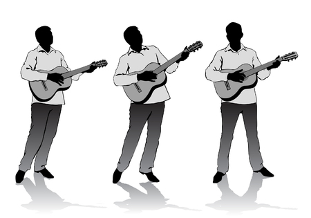 plucking: young man sings and plays music on the guitar Illustration