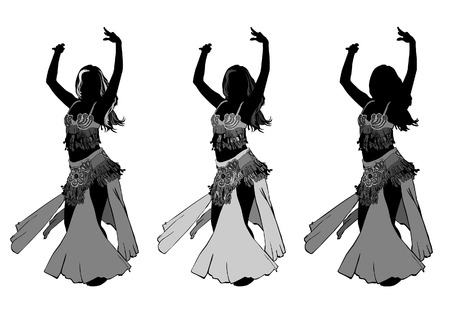 belly dancer: young girl dances east dance on stage Illustration
