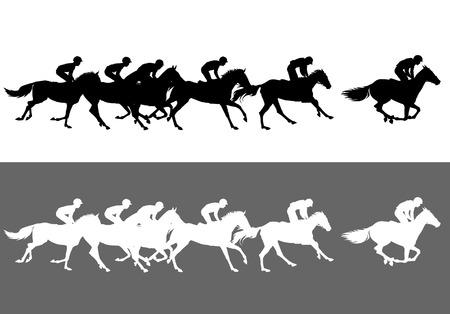 Las carreras de caballos. Competencia. Las carreras de caballos en el hipódromo Ilustración de vector