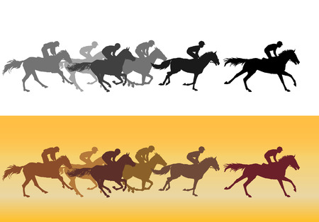 horses in the wild: Horse Racing. Competition. Ipodrome on horse races.  Horse racing at the racetrack Illustration