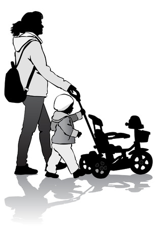 stroll: Mother rolls the baby in the stroller for a walk Illustration