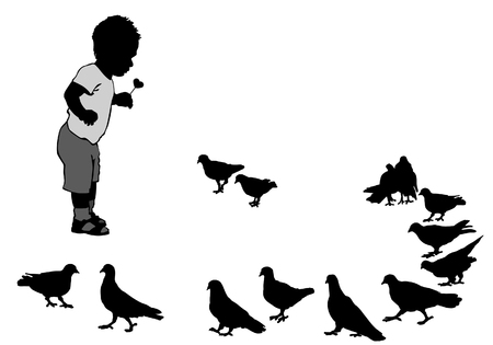 pigeons: Child feeding pigeons on a walk in the city park. Illustration