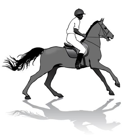carreras de caballos: Jinete. Jockey montar un caballo. Carreras de caballos. Competencia.