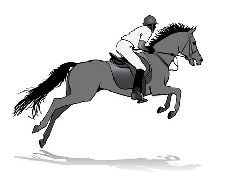 sprinting: Rider. Jockey riding a horse. Horse races. Competition. Illustration