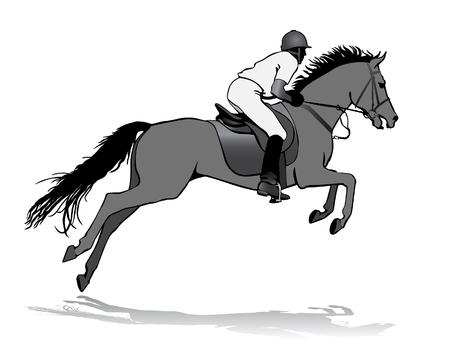 silueta ciclista: Rider. Jockey riding a horse. Horse races. Competition. Vectores