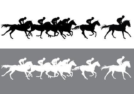 Wyścigi konne. Konkurencja. Wyścigi konne na torze wyścigowym. Ilustracje wektorowe