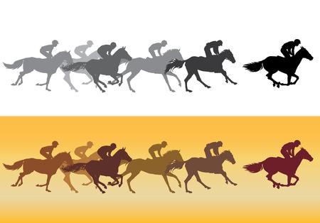 corse di cavalli: Corsa di cavalli. Concorrenza. Le corse dei cavalli in pista. Sagome nere su sfondo bianco, sagome colorate su uno sfondo giallo. Vettoriali