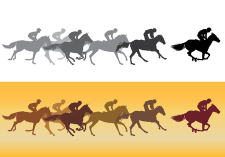horse jumping: Horse Racing. Competition. Horse racing at the racetrack. Black silhouettes on white background, colored silhouettes on a yellow background. Illustration