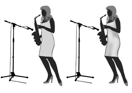performing: Girl saxophonist stands on the stage and playing the saxophone