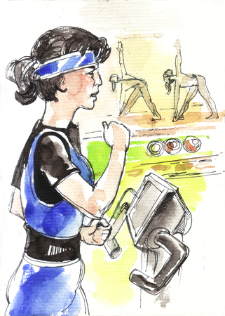 freetime: Girl is engaged on a treadmill. Watercolor painting. Stock Photo
