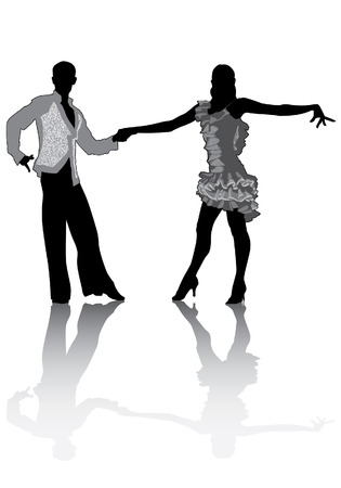 paso doble: A couple in costumes dancing Latin dances. Silhouette isolated on a white background. Illustration