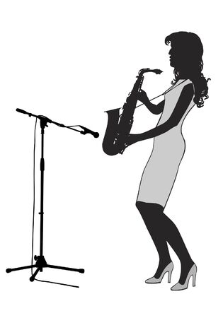 saxophonist: Girl saxophonist stands on the stage and playing the saxophone