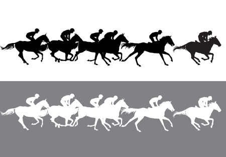 animal silhouette: Horse Racing. Competition. Horse racing at the racetrack. Illustration