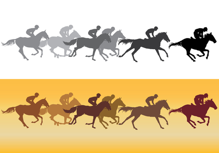 thoroughbred horse: Black silhouettes on white background, colored silhouettes on a yellow background.