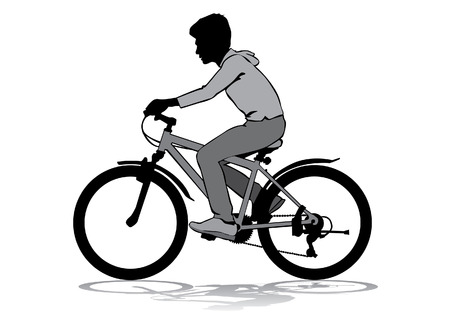 A boy rides a bicycle on a walk.