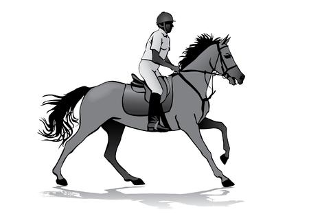 silueta humana: Jinete. Jockey montar un caballo. Carreras de caballos. Competencia.