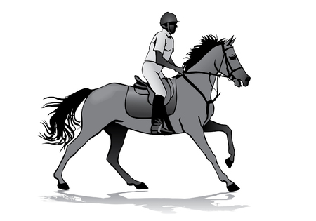 sport silhouette: Rider. Jockey riding a horse. Horse races. Competition. Illustration