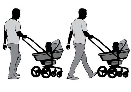 stroll: Father walking with a baby in a stroller