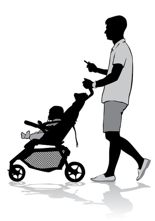 baby carriage: Father walking with a baby in a stroller.