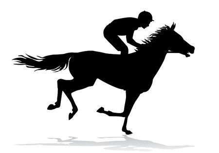 silueta humana: Jinete montado en un caballo. Carreras de caballos. Competencia.