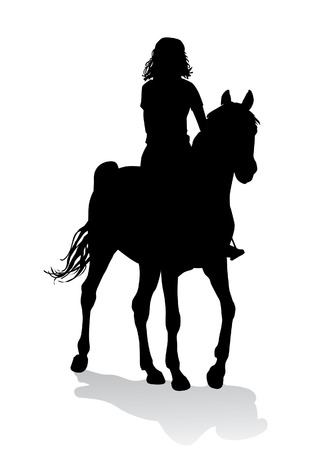 equine: Girl riding a horse. Horse riding walk. Illustration